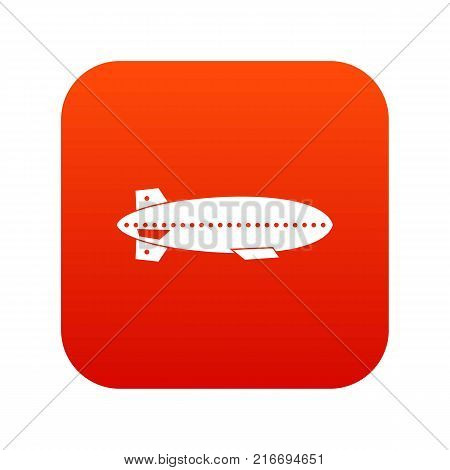 Dirigible balloon icon digital red for any design isolated on white vector illustration