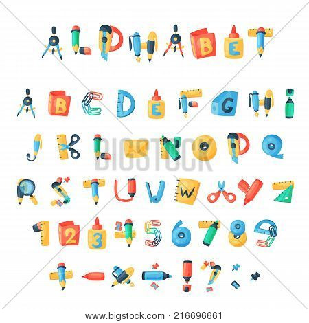 Alphabet stationery letters vector abc font alphabetic icons of office supply and school tools accessories for education pencil or pen alphabetically isolated on white background illustration.