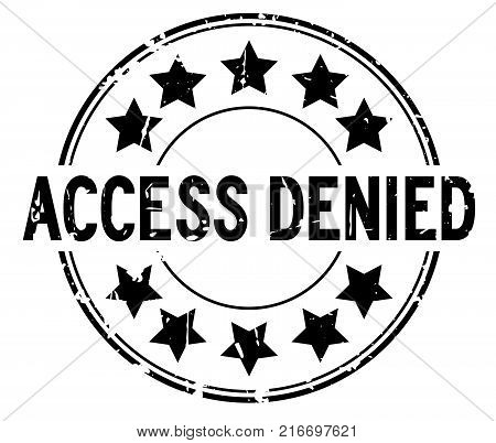 Grunge black access denied with star icon round rubber seal stamp on white background