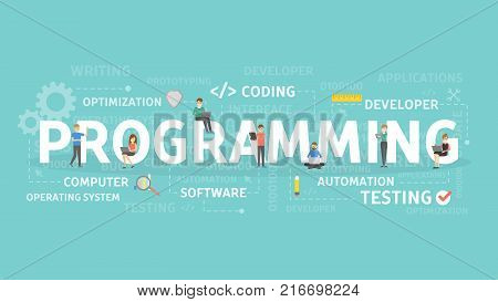 Programmer illustration concept. Idea of coding, developing and testing.