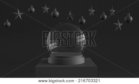 Empty snow glass ball with black tray and podium on dark background with hanging  balls and stars ornaments. For new year or Christmas theme. 3D rendering.