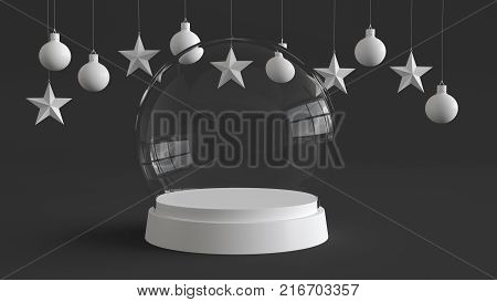 Glass dome with white tray on dark background with hanging white balls and stars ornaments. For new year or Christmas theme. 3D rendering.