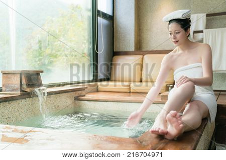 Beauty Asian Girl Play And Splash Water