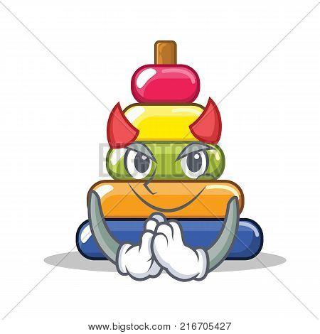 Devil pyramid ring character cartoon vector illustration