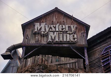 PIGEON FORGE, TENNESEE- NOVEMBER 15,2017: Mystery Mine Ride Entrance, Location Dollywood Theme park.
