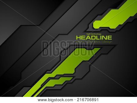 Green and black contrast abstract technology background. Vector corporate design