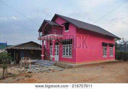 Dalat Vietnam - Apr 5 2013. A rural house at Ta Nung village in Dalat Vietnam. Da Lat is located 1500 m above sea level on the Langbian Plateau.