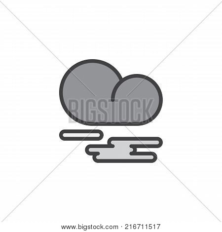 Mist fog and cloud filled outline icon, line vector sign, linear colorful pictogram isolated on white.  Fog or smoke symbol, logo illustration. Pixel perfect vector graphics