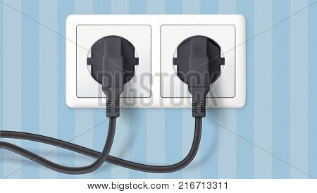 Two black plug inserted in a wall socket on backdrop of wall with wallpaper with stripes. The plug is plugged into the power lines with electric cord. Icon of connecting electrical appliances.