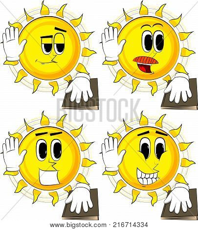 Cartoon sun raising his hand and put the other on a holy book. Taking oath or swearing. Collection with happy faces. Expressions vector set.