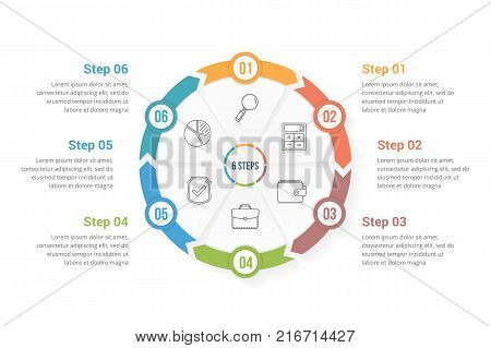 Circle arrows - infographic template with six elements steps or options, workflow or process diagram, vector eps10 illustration