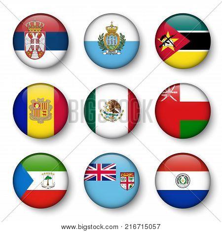 Set of world flags round badges ( Serbia . San marino . Mozambique . Andorra . Mexico . Oman . Equatorial Guinea . fiji . Paraguay ) .