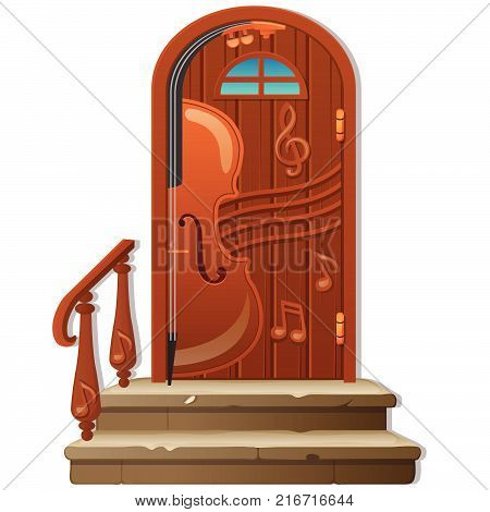 Old wooden door with porch and handrail isolated on white background. Sketch of festive poster, party invitation, other card. Interior in style of classical music. Vector cartoon close-up illustration