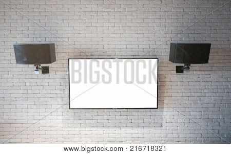 modern TV screen on white wall at Thailand