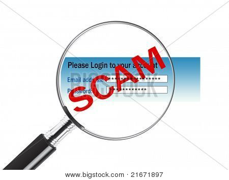 Magnifying glass over a login screen revealing that the site is a scam