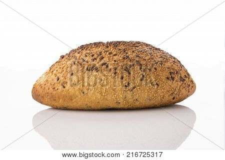 Front View of Golden Brown Sourdough Bread Isolated on White Background Shot in Studio