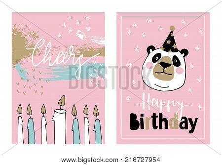 Cute set of hand drawn birthday or baby shower greeting cards, invitations with giant panda with party hat and burning candles, vector illustration backgrounds.