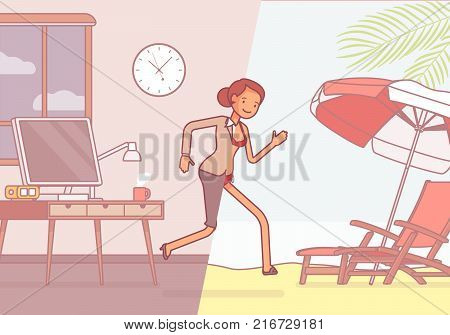 Half of a woman leaps to vacation. Tired, overworked and exhausted female office worker runs into relax area of a sunny beach, dreaming of hot summer. Vector business concept line art illustration
