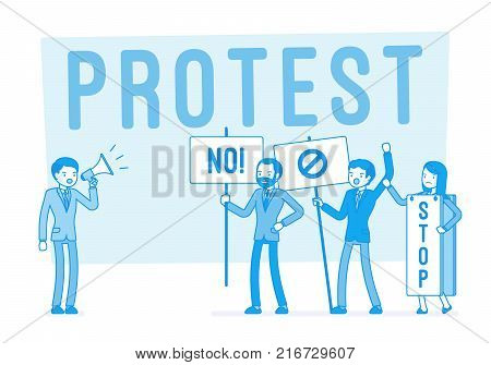 Protesting people at strike. Group of young workers with banners, placards expressing disagreement, disapproval and strong opposition, active objection. Vector business concept line art illustration