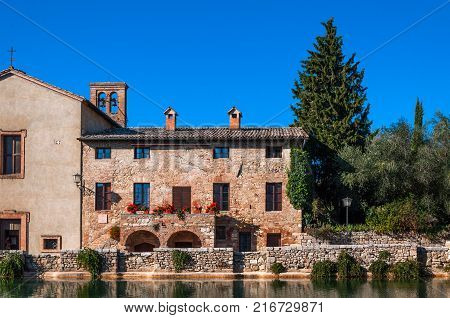 Bagno Vignoni ancient village with thermal springs in Tuscany, Italy.