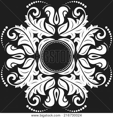 Oriental vector pattern with arabesques and floral elements. Traditional classic ornament. Vintage black and white pattern with arabesques
