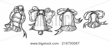 Hand drawn Set of engraving bell with red bow. Christmas plant retro vintage style. Romantic Christmas illustration. Greeting card design. new year mistletoe. Winter template.