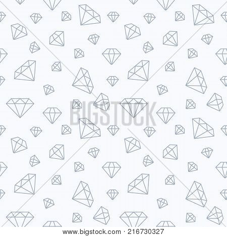 Jewelry seamless pattern, diamonds flat line illustration. Vector icons of brilliants. Fashion store white repeated background.