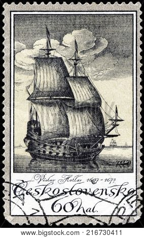 CZECHOSLOVAKIA - CIRCA 1976: A stamp printed in Czechoslovakia, shows old engravings of ships by Vaclav Hollar 1607-7167, circa 1976