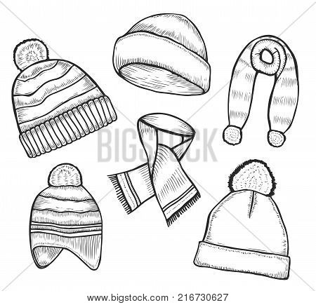 Set of woolen winter clothes, hats and scarves sketch style vector illustrations isolated on white background. Hand drawn woolen scarf, hat with a pompom, mittens and ear warmers