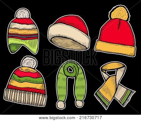 Winter clothes. Santa stocking cap. Knitted hats and Scarfs. Isolated on black background