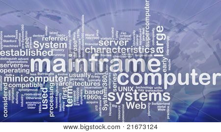 Word cloud concept illustration of mainframe computer international