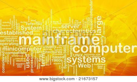 Word cloud concept illustration of mainframe computer international