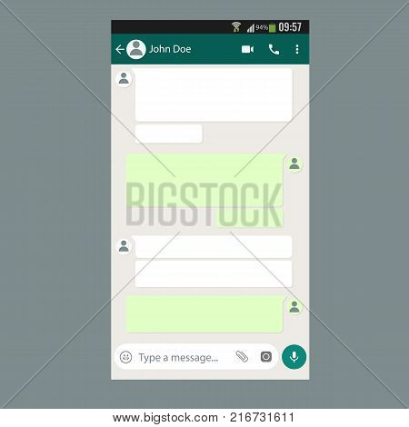 Mobile UI kit Chat app template on smartphone screen. Vector illustration