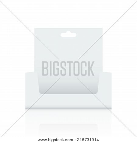 Empty Cardboard display box with hole mockup with front viewpoint. Realistic drawing. Vector illustration