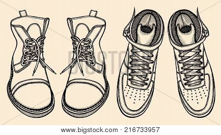 Men boot set illustration, Winter shoes in classic and sport style, drawing, engraving, ink, line art, vector