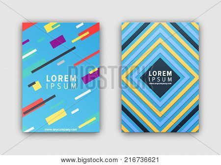 Closeup of covers collection consisting of lines and stripes, headline sample and website link in centerpiece vector illustration isolated on white