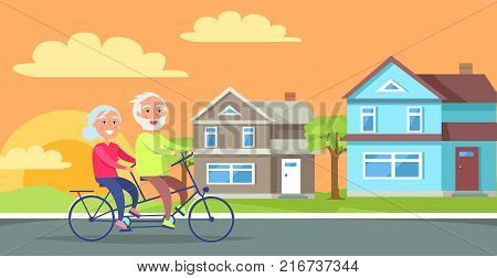 Happy mature couple riding together on bike on background of rural cottages vector illustration. Husband and wife on retirement in countryside