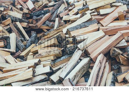 a bunch of chopped beech hornbeam and ash firewood for the stove and fireplace