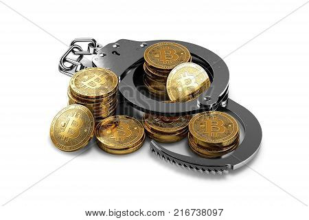Handcuffs and bitcoin stack and piles isolated on white background. Bitcoin prohibition concept. 3D rendering