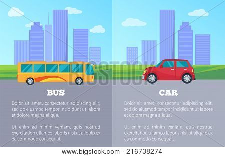 Car against bus comparing of public and private city transport poster. Vector illustration of vehicles among urban buildings and skyscrapers