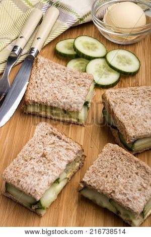 healthy brown toast with cucumber slices prepared as a sandwich