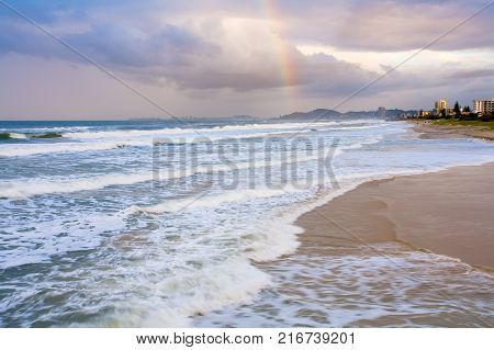 A rainbow appears over Coolangatta on the Gold Coast, Queensland, Australia.