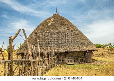 Traditional village house near Addis Ababa, Ethiopia, Africa
