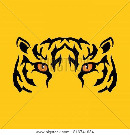 Tiger head - vector logo concept illustration in classic graphic style. Tiger head silhouette sign.  Bengal tiger head creative illustration