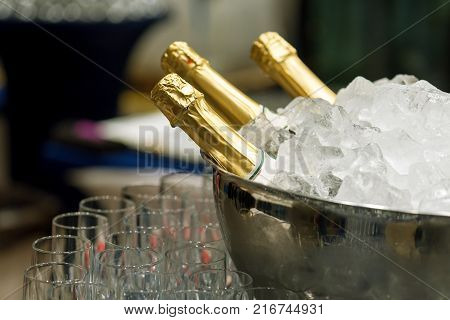 Bottle of champagne in bucket of ice.
