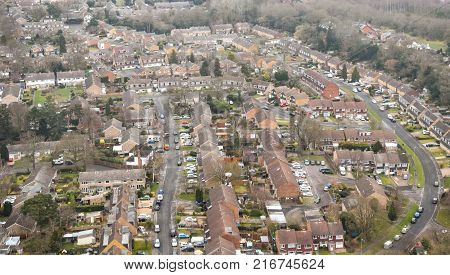 Photograph from a Helicopter of the outskirts of Hampshire town Yateley
