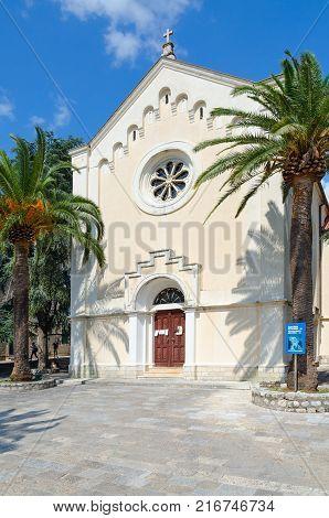 HERCEG NOVI MONTENEGRO - SEPTEMBER 10 2017: View of Church of St. Jerome in Herceg Novi Montenegro (text on stand - name of church: Church of St. Jerome)
