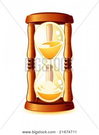 Classic old wooden hour-glass or sand-glass