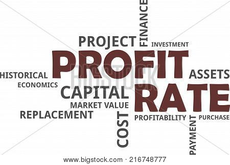 A word cloud of profit rate related items