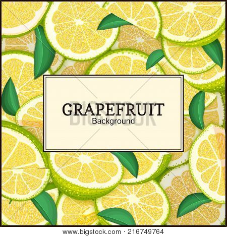 square label on citrus grapefruit background. Vector card illustration. Tropical fresh green pomelo frame peeled piece of half slice for design of food packaging juice breakfast, tea diet juce.